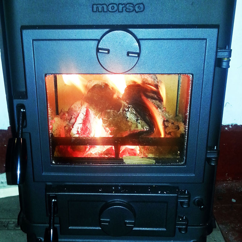Log Burning Stove at Bell's Bothy Bunkhouse